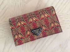 NIB Auth Prada Multi Color Saffiano Leather Logo Card Holder Case Wallet
