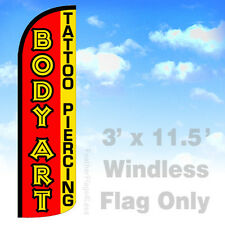 Body Art Tattoo Piercing - 3' Windless Swooper Feather Flag Banner Sign rq