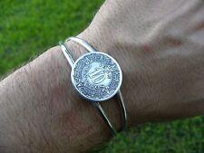 Vintage 1945 Aztec calendar 10 Centavos Mexican  Coin cuff Bracelet adjustable
