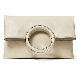 ❤️ Michael Kors Rosie Large Leather Light Cream/Gold Foldover Ring Clutch