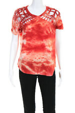 Isabel Marant Womens Short Sleeve Distressed Tie Dye T-Shirt Red Size EUR 36
