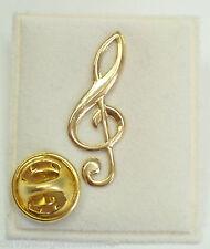 Chiave di violino: Spilla da giacca (pins) in Oro giallo 750 - 18 Kt - musica
