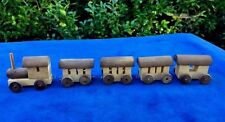 Antique Miniature WOODEN WOOD Toy TRAIN Locomotive ++ 4 Cars Caboose .. LOT of 5