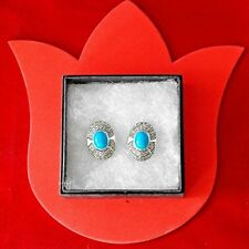 FANTASTIC 925 SILVER EARRINGS WITH MARCASITE & TURQUOISE 9 GR. 2.7X2 CM. IN BOX