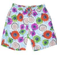 Vilebrequin Mens Designer Floral Mandala Swim Board Shorts Trunks Size XL Blue
