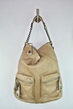 B MAKOWSKY Large Leather Hobo Shoulder Bag Purse Chain Detail Tan Antiqie Silver