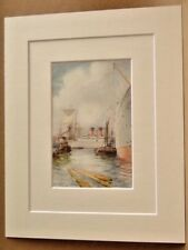 SOUTHAMPTON DOCKS AND LINERS VERY RARE ANTIQUE DOUBLE MOUNTED PRINT 1908 10X8