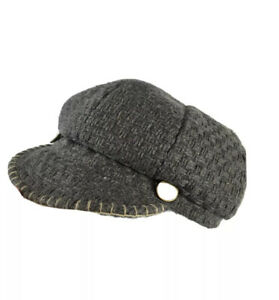 Kate Landry Newsboy Cabbie Hat Cap Lined Gray Wool Blend Textured