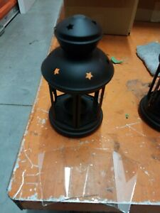 Ikea Rotera Tealight Candle Holder Lantern black Metal Glass Stars