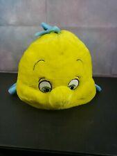 "Disney Little Mermaid Plush Flounder Pillow W/Zipper Large 20"""
