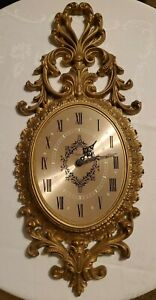 Vintage 1966 Gold Burwood Wall Clock Ornate plastic Hollywood Regency Arabesque