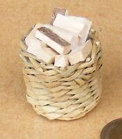 1:12 Scale Basket Of Fixed Logs Fire Wood Tumdee Dolls House Garden Accessory