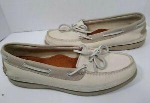 Sperry Top Sider docksider boat deck shoe cream tan Men's shoe 1925433 10.5 1/2