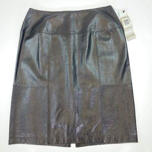 Anne Klein Womens A Line Skirt Black Back Slit 100% Leather Petites 6 NEW