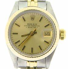 Rolex Date Ladies 2Tone 14K Yellow Gold Steel Watch Jubilee Band Champagne 6917