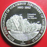 1989 TURKS CAICOS 20 CROWNS SILVER PROOF COLUMBUS SHIPS CROSSING THE ATLANTIC