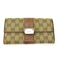 """GUCCI: Beige """"GG"""" Logo & Brown Leather Long Folding Wallet (ow)"""