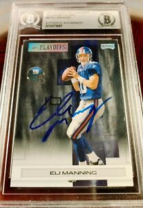 *ELI MANNING* *2007 S.B. MVP YEAR* *HAND-SIGNED AUTO* *METALIZED* AUTOGRAPH BGS