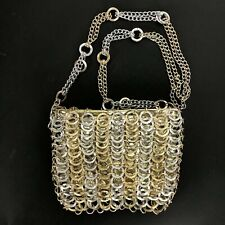 Vintage Walborg Gold Silver Metal Chain Ring Shoulder Handbag Purse