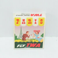 Vintage TWA Airline Advertising Matchbook Paris Stewardess Decorative Cover Full