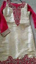 """INDIAN Gold & Hot Pink Salwar Kameez READYMADE SIZE 38"""" CHEST FREE SHIPPING!"""