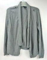 White House Black Market Women's Ribbed Open Soft Light Cardigan Light Gray XL