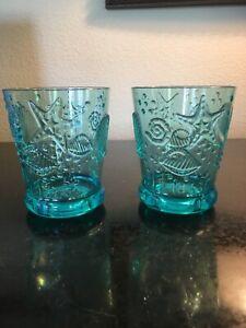 Adorable Beach Theme  Acrylic Short Drink Glasses SET of 2