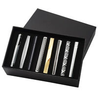 8pcs Men Steel Silver Gold Solid Black Ties Necktie Clasp Pin Clip Bar Set Gift