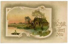 Vintage New Year Greetings Post Card,  A Country Mill at Sunset, 1910