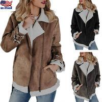 US Women's Suede Wool Motorcycle Coat Winter Bike Jacket Faux Fur Parka Outwear