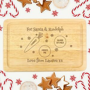 PERSONALISED CHRISTMAS EVE GIFT IDEA   Mince Pie and Milk for Santa Board Plate