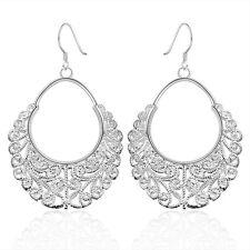925 Sterling Silver Dangle Chandelier Hoop Pierced Earrings L158