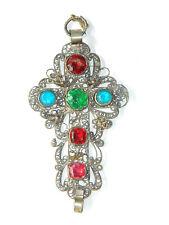 VTG Large Silver Filigree Christian Cross Pendant w/ Multicolor Bohemian Glass