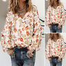 ZANZEA UK Womens Long Sleeve Elastic Cuffs Floral Print Shirt Tops Jumper Blouse