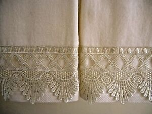 CREAM LACE Fingertip or Guest Towels (2) IVORY Velour Cotton NEW by UtaLace