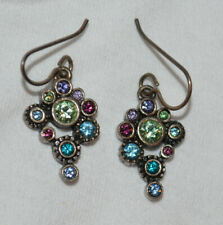 PATRICIA LOCKE Multi Color Swarovski Gold Hook Earrings