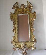 VINTAGE ART NOUVEAU  ITALIAN GOLD GILT  CARVED WOOD PICTURE FRAME w FACES MIRROR