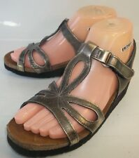 Naot Wos Shoes Sandals US 6 Metallic Leather Walking Ankle Strap Wedge 1131