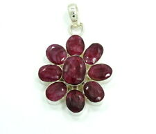 HUGE Natural Genuine Oval Cut African Red RUBY Sterling Silver Flower Pendant