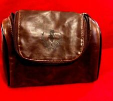 AVON BonJovi Unplugged Men's Brown Toiletry Case GUITAR EMBLEM LEATHER LIKE 2CT