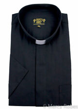 Men's Black Short Sleeve Clergy Shirt Tab Collar, Minister, Preacher, Priest