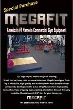 MEGAFIT Rubber Floor Exercise Mat Tiles Garage Home Gym Fitness, Interlocking
