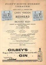 REDHEAD Playbiill from 46th Street Theatre (1959) w/ ticket stubs