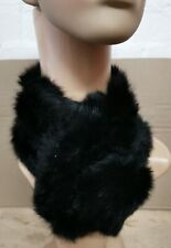 black genuine real rabbit fur pom pom scarf neck warmer collar shawl stole