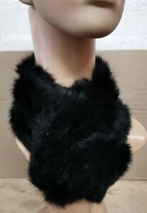 black genuine real Chinese rabbit fur pom pom scarf neck warmer collar shawl