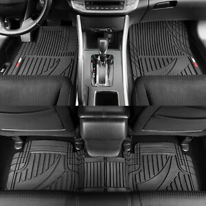 Motor Trend Customizable Trim-to-Fit All Weather Rubber Car Floor Mats 3PC Black