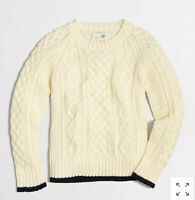 Crewcuts J Crew Boys Fisherman Cable Knit Sweater Cream Ivory Navy Size 3