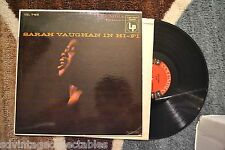SARAH VAUGHAN IN HI FI Original 6 eye mono Jazz RECORD LP VG+