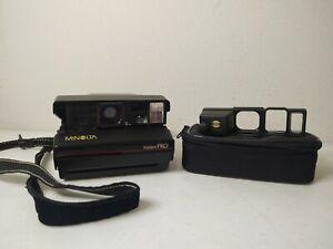 VTG Minolta Instant Pro Polaroid Film Camera W Flash + Close Up Lens *UNTESTED*