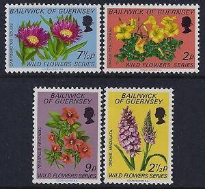 1972 GUERNSEY WILD FLOWERS SET OF 4 FINE MINT MNH/MUH